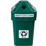 Forte 45 Gallon Plastic Recycle Bin for Plastic, The Burly™, Green - 8002827