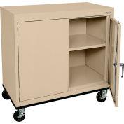 Sandusky Mobile Work Height Storage Cabinet TA11361830 Double Door - 36x18x30, Sand