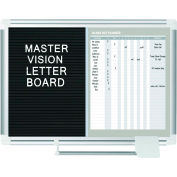 "MasterVision In/Out Magnetic Dry-Erase and Letter Board Combo, 24"" X 36"", Aluminum Frame"