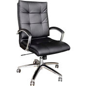 Interion® Premium Task Chair with Bungee Seat - Bonded Leather - Black