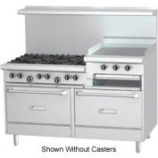 """6 Burner With 24"""" Raised Griddle - Natural Gas w/ Casters"""