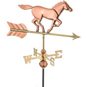 Good Directions Horse Garden Weathervane, Polished Copper w/Roof Mount