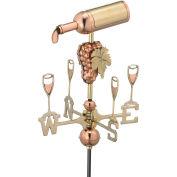 Good Directions Wine Bottle Garden Weathervane, Polished Copper w/Garden Pole