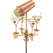 Good Directions Martini w/ Glasses Garden Weathervane, Polished Copper w/Roof Mount