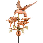 Good Directions Hummingbird w/ Flowers Weathervane, Polished Copper