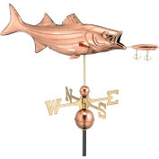 Good Directions Bass w/ Lure Weathervane, Polished Copper