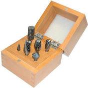 """Grobet Carbide Burr Set 32.925, Double Cut, 1/4"""" Shank Diameter, 8 Piece Set"""
