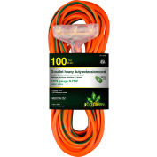 GoGreen Power, 12/3 100' 3-Outlet Heavy Duty Extension Cord, GG-15200, Lighted End