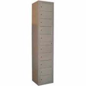 George O'Day Folded Garment Lcker LL10C-GO 10 Compartment Cam Lock 16-1/2 x 16-1/4 x 77-1/2 Gray