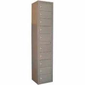 George O'Day Folded Garment Lcker LL10CKL-GO 10 Compartment Knob Lock 16-1/2 x 16-1/4 x 77-1/2 Gray