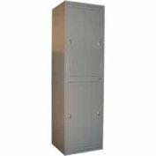 George O'Day Hang Garment Locker LL422CKL-GO Big 4 Compart. Knob Lock 24-5/16x21-1/4x84-1/2 Gray
