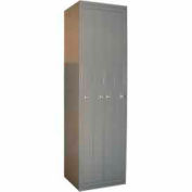 George O'Day Hanging Garment Locker LL4TCLK-GO Tall 4 Compart. Knob Lock 26x21-1/4x84-1/2 Gray