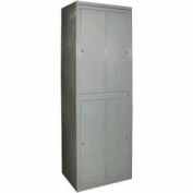 George O'Day Hanging Garment Locker LL4WC-GO Super 4 Compart. Cam Lock 31x21-1/4x84-1/2 Gray
