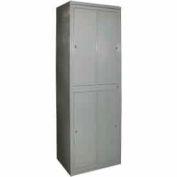 George O'Day Hanging Garment Locker LL4WC-GOSV Super 4 Compart. Cam Lock 31x21-1/4x84-1/2 Silver