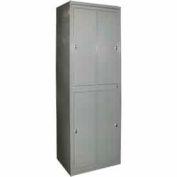 George O'Day Hang Garment Locker LL4WCKL-GO Super 4 Compart. Knob Lock 31x21-1/4x84-1/2 Gray