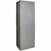 George O'Day Hanging Garment Locker LL4WCKL-GOSV Super 4 Compart. Knob Lock 31x21-1/4x84-1/2 Silver