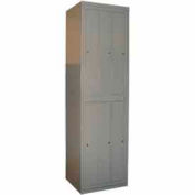 George O'Day Hanging Garment Locker LL6C-GOSV Std 6 Compart. Cam Lock 24-5/16x21-1/4x84-1/2 Silver