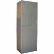 George O'Day Hanging Garment Locker LL6WC-GO Super 6 Compart. Cam Lock 31x21-1/4x84-1/2 Gray