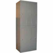 George O'Day Hang Garment Locker LL6WCKL-GO Super 6 Compart Knob Lock 31x21-1/4x84-1/2 Gray