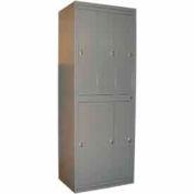 George O'Day Hang Garment Locker LL6WCKL-GO Super 6 Compart Knob Lock 31x21-1/4x84-1/2 Gray