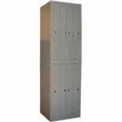 George O'Day Hang Garment Locker LL8CKL-GO Std 8 Compart Knob Lock 24-5/16x21-1/4x84-1/2 Gray