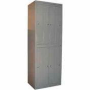 George O'Day Hanging Garment Locker LL8WC-GOSV Big 8 Compart. Cam Lock 31x21-1/4x84-1/2 SilverVein