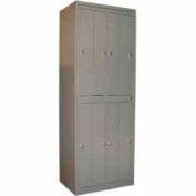 George O'Day Hanging Garment Locker LL8WCKL-GO Big 8 Compart. Knob Lock 31x21-1/4x84-1/2 Gray