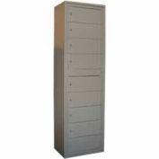 George O'Day Folded Garment Lcker LL9C-GO 9 Compartment Cam Lock 24 x 16-1/4 x 80-3/4 Gray
