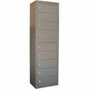 George O'Day Folded Garment Lcker LL9CKL-GO 9 Compartment Knob Lock 24 x 16-1/4 x 80-3/4 Gray