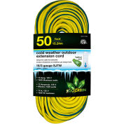 GoGreen GG-17750 16/3 50' Cold Weather Outdoor Extension Cord, Yellow w/Green Stripe. Lighted End