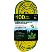 GoGreen GG-17800 14/3 100' Cold Weather Outdoor Extension Cord, Yellow w/Green Stripe. Lighted End