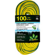 GoGreen GG-18000 12/3 100' Cold Weather Outdoor Extension Cord, Yellow w/Green Stripe. Lighted End