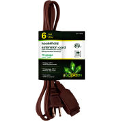 GoGreen Power, GG-24806, 6 Ft Household Extension Cord - Brown - Pkg Qty 10