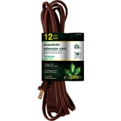 GoGreen Power, GG-24812, 12 Ft Household Extension Cord - Brown