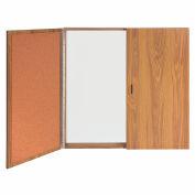 Ghent® Conference Oak Cabinet, Porcelain Magnetic Whiteboard w/Cork on Interior of Doors