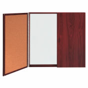 Ghent Double Door Conference Cabinet - Mahogany - 4' x 4' - White Porcelain / Cork