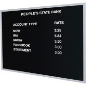 "Ghent® Open Face Changeable Letter Board, 24""H x 36""W"