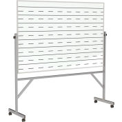 "Ghent® Reversible Porcelain Magnetic Whiteboard w/2 Sides Penmanship Lines, 77""W x 78-1/4""H"