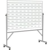 "Ghent® Reversible Porcelain Magnetic Whiteboard w/2 Sides Penmanship Lines, 77""W x 78-1/4""H"