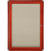 "Ghent® 1 Door Ovation Bulletin Board, Beige Fabric/Cherry & Chrome Frame, 24-1/8""W x 33-3/4""H"