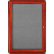 "Ghent® 1 Door Ovation Bulletin Board, Gray Fabric/Cherry & Chrome Frame, 24-1/8""W x 33-3/4""H"