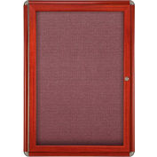 "Ghent® 1 Door Ovation Bulletin Board, Merlot Fabric/Cherry & Chrome Frame, 24-1/8""W x 33-3/4""H"