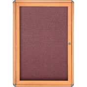 "Ghent® 1 Door Ovation Bulletin Board, Merlot Fabric/Maple & Chrome Frame, 24-1/8""W x 33-3/4""H"