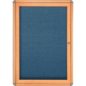 "Ghent® 1 Door Ovation Bulletin Board, Blue Fabric/Maple & Chrome Frame, 24-1/8""W x 33-3/4""H"