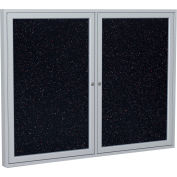 """Ghent® 2 Door Enclosed Recycled Rubber Bulletin Board, 48""""W x36""""H, Confetti w/Silver Frame"""