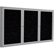 "Ghent® 3 Door Enclosed Recycled Rubber Bulletin Board, 72""W x48""H, Tan Speckled w/Silver Frame"