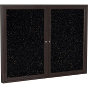 """Ghent® 2 Door Enclosed Recycled Rubber Bulletin Board, 60""""W x36""""H, Tan Speckled w/Bronze Frame"""