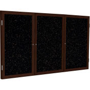 """Ghent® 3 Door Enclosed Recycled Rubber Bulletin Board, 96""""W x48""""H, Tan Speckled w/Walnut Frame"""