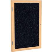 "Ghent® 1 Door Enclosed Recycled Rubber Bulletin Board, 18""W x24""H, Confetti w/Oak Frame"