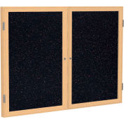 "Ghent® 2 Door Enclosed Recycled Rubber Bulletin Board, 60""W x36""H, Confetti w/Oak Frame"